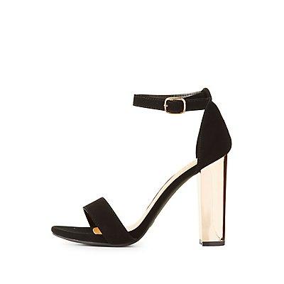 Bamboo Ankle Strap Metallic Heel Sandals