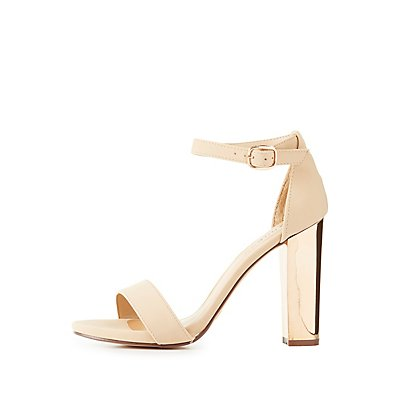 Bamboo Ankle Strap Metallic Heel Sandals