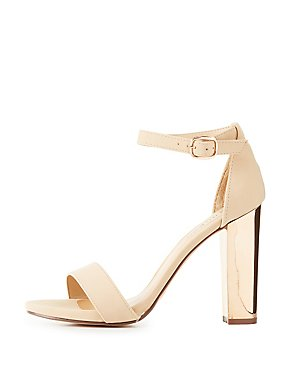 Bamboo Two-Piece Metallic Heel Sandals