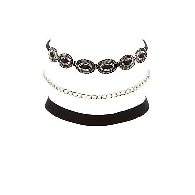 Etched Charm, Chainlink & Velvet Choker Necklaces - 3 Pack