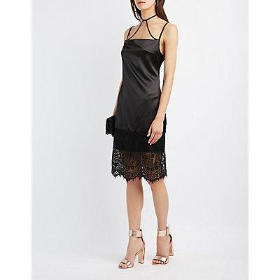 Strappy Lace-Hem Slip Dress
