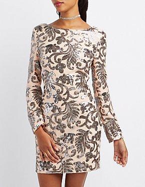 Sequin Open Back Bodycon Dress