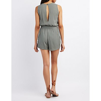 Crochet-Trim Open-Back Romper