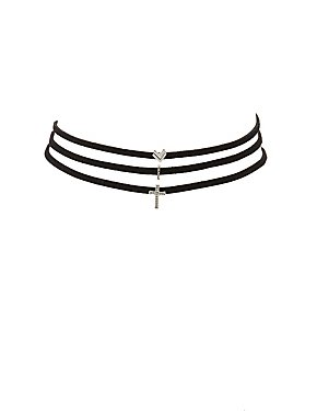 Embellished Charm Choker Necklaces - 3 Pack