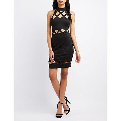 Laser Cut Bodycon Dress