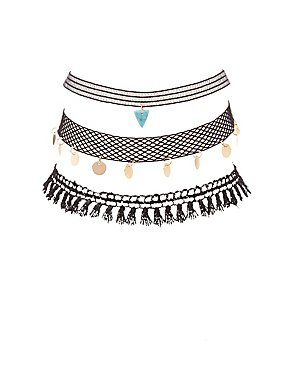 Embellished Crochet & Mesh Choker Necklaces - 3 Pack