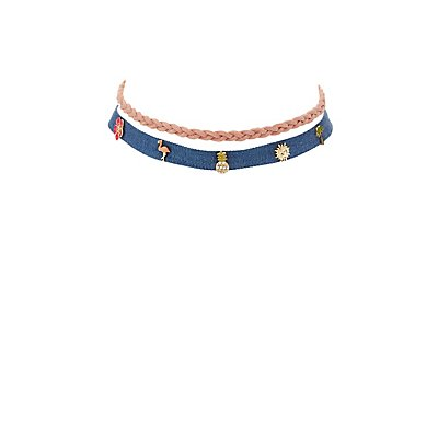 Faux Suede & Denim Choker Necklaces - 2 Pack