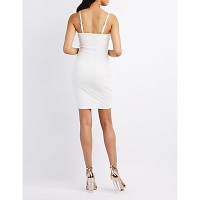Embroidered Wrap Bodycon Dress