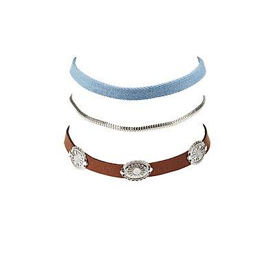 Metal Charm, Denim, & Chainlink Choker Necklaces- 3 Pack