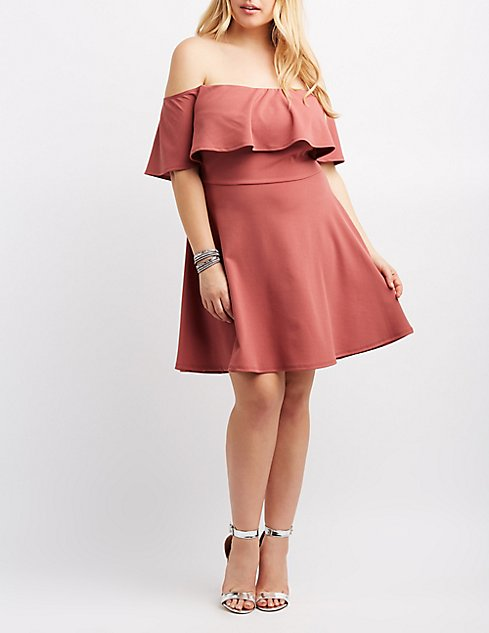 Plus Size Ruffle Off The Shoulder Skater Dress Charlotte Russe
