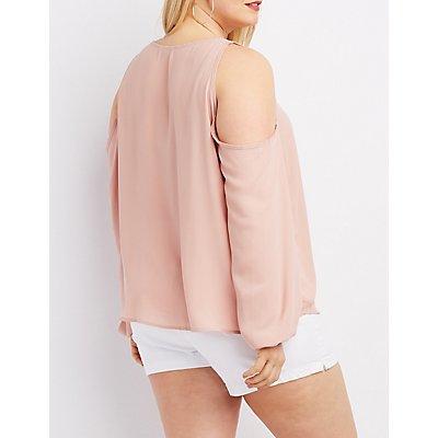 Plus Size Lattice Cold Shoulder Blouse