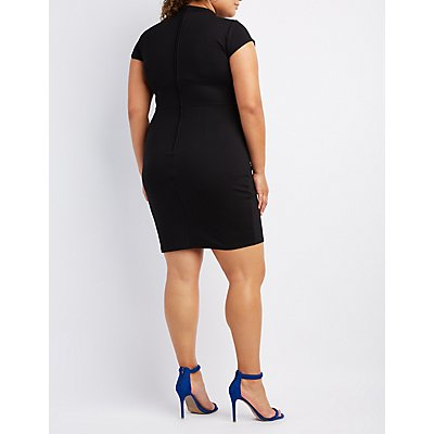 Plus Size Mock Neck Cut-Out Dress