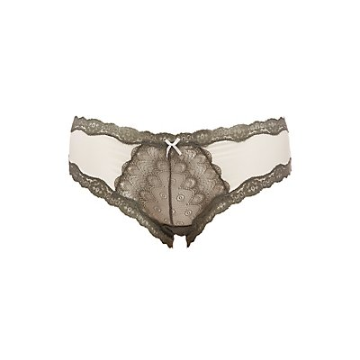 Plus Size Lace-Panel Hipster Panties