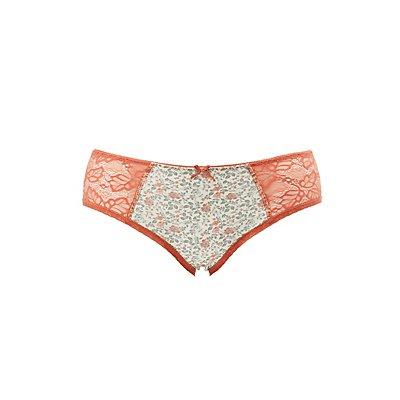 Plus Size Printed Lace-Trim Hipster Panties
