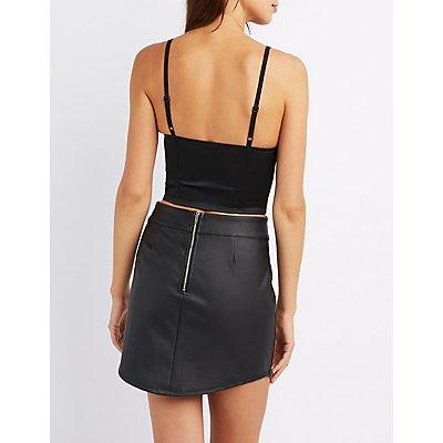 Mesh-Trim Bustier Crop Top