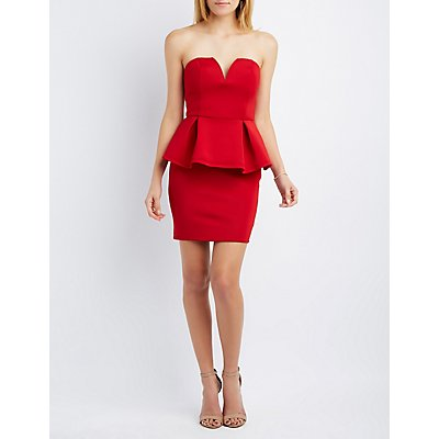 Scuba Strapless Peplum Dress