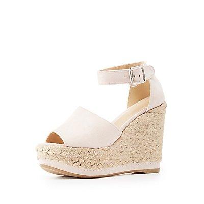 Two-Piece Espadrille Wedge Sandals