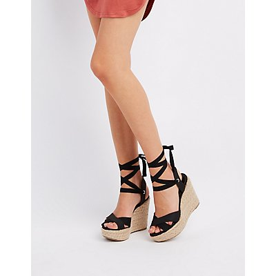 Ankle-Tie Espadrille Wedge Sandals