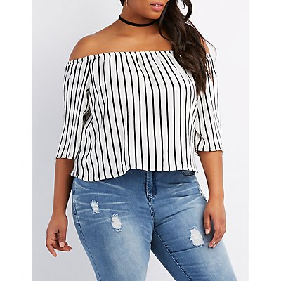 Plus Size Striped Off-The-Shoulder Top