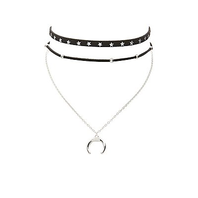 Celestial Faux Suede & Chain Choker Necklaces - 2 Pack