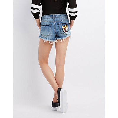 Refuge Patch Shortie Denim Shorts