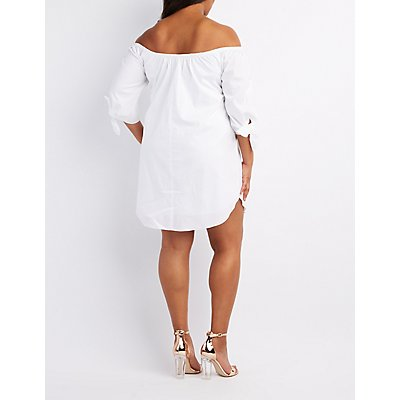 Plus Size Poplin Off-The-Shoulder Shift Dress