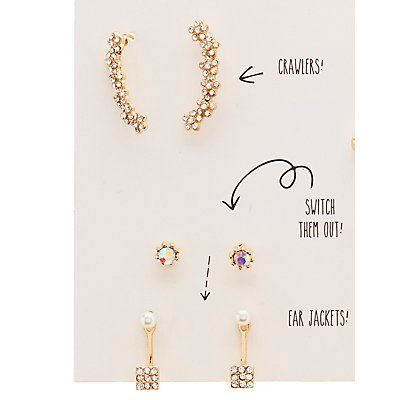Ear Jackets, Crawlers & Stud Earrings Set