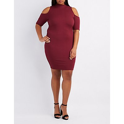 Plus Size Ribbed Mock Neck Cold Shoulder Dress