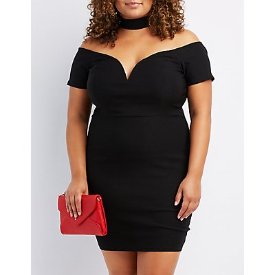 Plus Size Choker Neck Notched Dress
