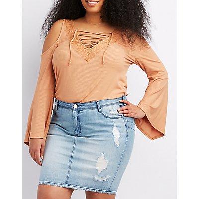 Plus Size Lace-Trim Cold Shoulder Top