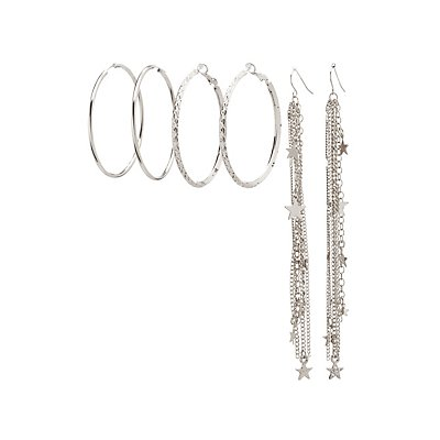 Hoop & Star Tassel Earrings Set