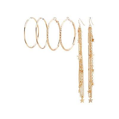 Hoop & Star Tassel Earrings Set