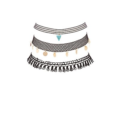 Plus Size Embellished Crochet & Mesh Choker Necklaces - 3 Pack