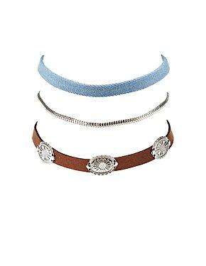 Plus Size Metal Charm, Denim, & Chainlink Choker Necklaces- 3 Pack