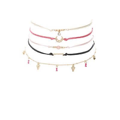 Plus Size Embellished Choker Necklaces - 5 Pack