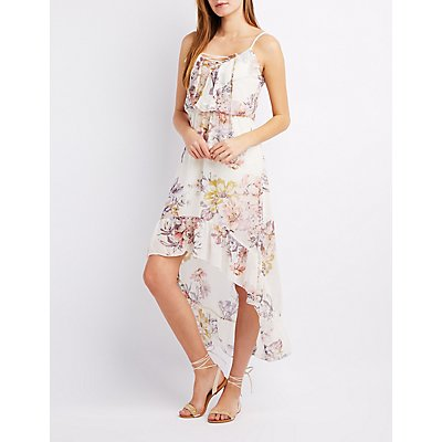 Floral Ruffle-Trim High-Low Dress