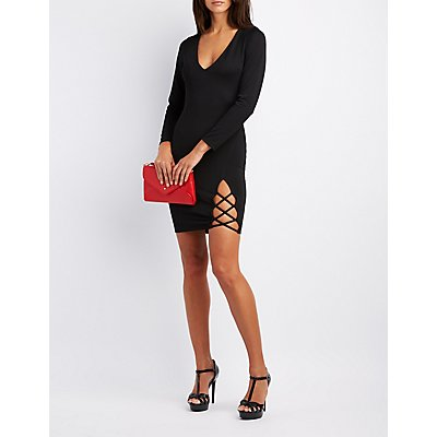 Lattice-Slit Bodycon Dress