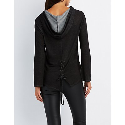 Bell Sleeve Lace-Up Back Hoodie