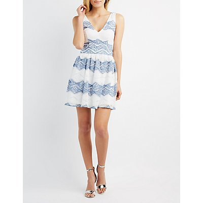Two-Tone Lace Skater Dress
