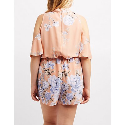 Plus Size Floral Choker Neck Cold Shoulder Romper
