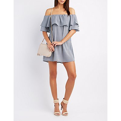 Striped Off-The-Shoulder Ruffle Dress