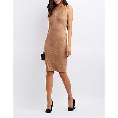 Faux Suede Mesh-Trim Dress