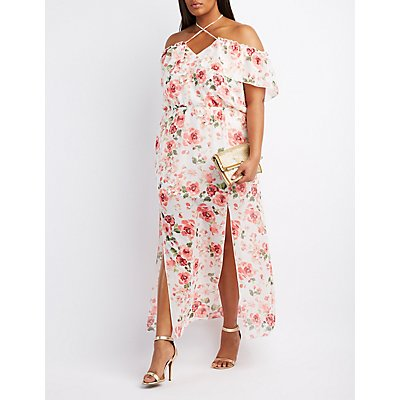 Plus Size Floral Off-The-Shoulder Maxi Dress