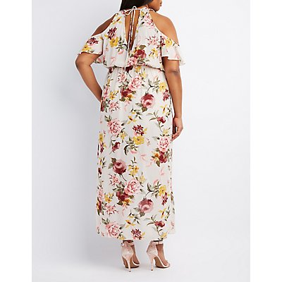 plus size floral surplice cold shoulder maxi dress | charlotte russe