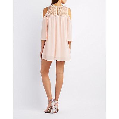 Crochet-Trim Cold Shoulder Dress