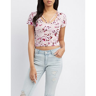 Floral Strappy Caged Crop Top