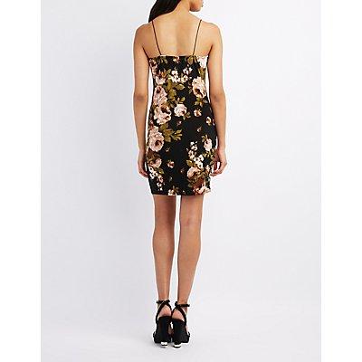 Floral Cowl Neck Bodycon Dress