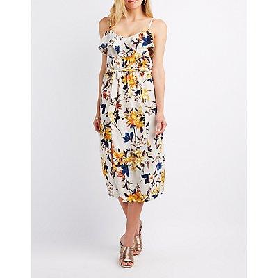 Floral Ruffle-Trim Midi Dress