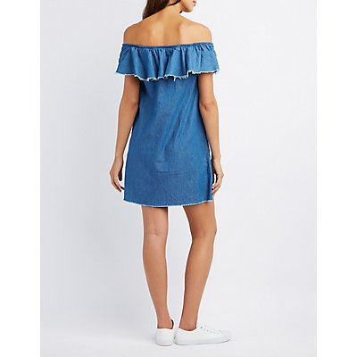 Chambray Ruffle Off-The-Shoulder Dress