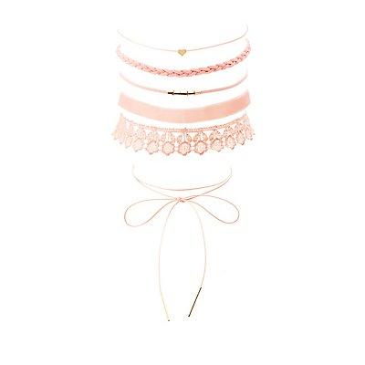 Crochet, Faux Suede & Velvet Choker Necklaces - 6 Pack